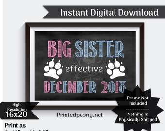 Big Sister Dog  Chalkboard Pregnancy Announcement Pet Pregnancy Reveal Due in December Baby Announcement Photo Prop Digital Download