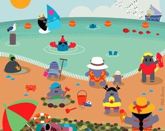 """Nursery table kids-""""The beach to sea"""" (""""Le Tréport"""" series)"""
