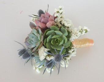 Succulent Bouquet and boutonniere blue, purple- small for Brit