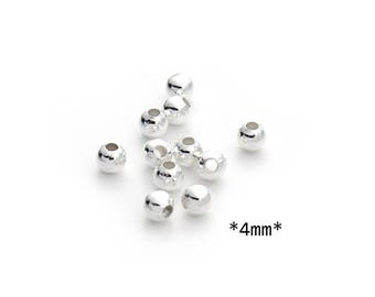 200 4mm round spacer beads silver metal beads