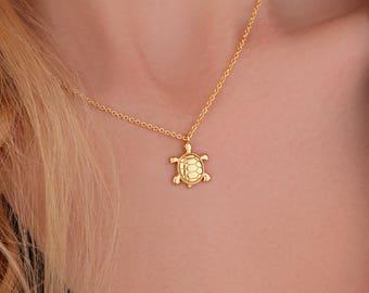 Turtle Necklace, Turtle Pendant Necklace Charm, Turtle Jewelry, Turtle Gifts, Turtle Necklace Gold