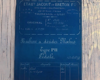 French industrial engineering blueprint, no. 2862 circa 1930s. Wonderful dark teal colour. Size: 780 x 470 mm.
