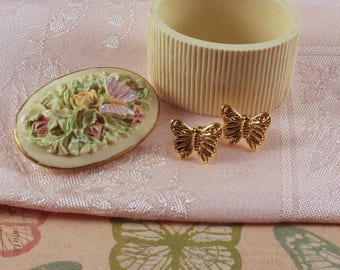 Avon Spring Bouquet Pin and Pierced Butterfly Earrings - Vintage 1992