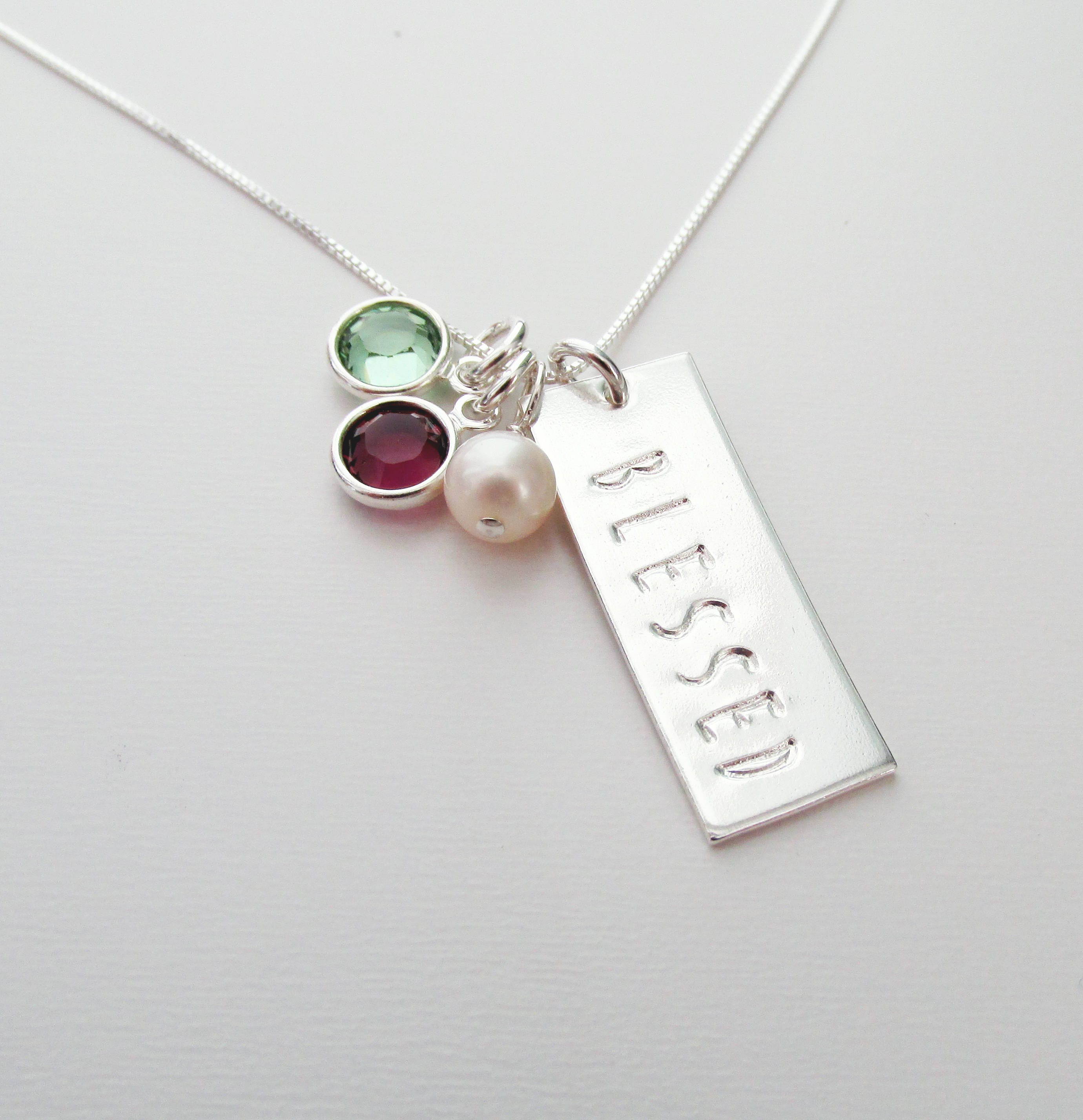 mom birthstone personalized pin grandkid necklace heart name etsy handstamped