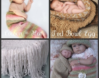 Baby KNITTING PATTERNS, 4 Patterns, Cocoon and Hat, Fringe Blanket, Pod Bowl Egg, Reborn Doll Cocoon and Hat, Instant Download