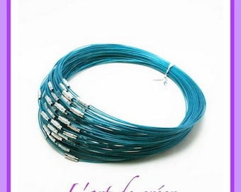 10 round neck cable with steel blue turquoise wrapped 1 mm x 45 cm, screw clasp