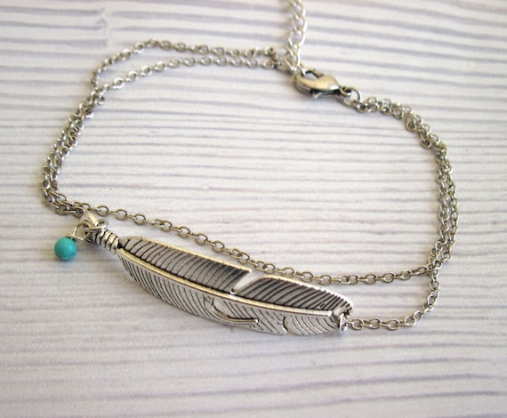 with like bracelet feather item turquoise sg anklet il listing en silver this