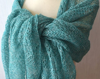 Linen Wrap Light Green Mint White  Knitted Natural Lace Scarf Shawl Natural Spring Summer Women Accessory