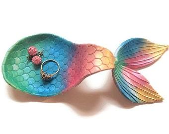 Mermaid Tail Ring Dish, Mermaid Jewelry Dish, Mermaid Ring Dish, Gift For Mom, Jewelry Organizer, Trinket Dish, Mermaid Decor Gift Idea