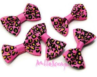 Set of 5 bows leopard pink embellishment scrapbooking card making *.