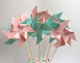 Pink or blue/green windmill for baptism, hand made wedding table decor