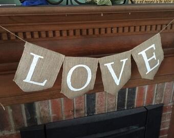 Rustic Burlap Love Banner