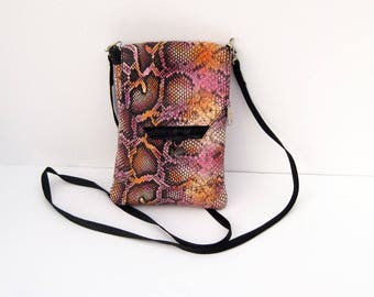 Pink Snakeskin Genuine Leather, Embossed,  Extra Large Cell Phone Purse with Flap