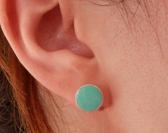 turquoise earrings sterling silver stud earrings round turquoise earrings turquoise jewelry turquoise post earrings boho earrings boho jewel