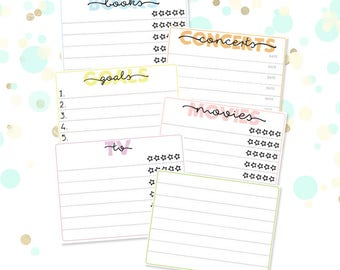 Movie/TV/Concerts/Books/Goals Trackers Planner Stickers