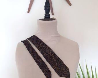 "60s skinny tie, midcentury leopard print necktie, 100% silk, made in Switzerland, Joe Feller, 59"""