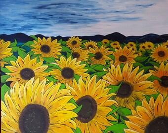 Acrylic, painting, original, art-sunflowers
