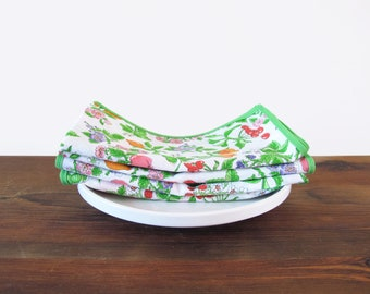 Colorful Vintage Cloth Napkins Flowers and Fruit