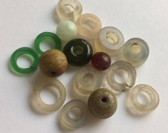 Vintage African  Glass Trade Beads - Assorted RIngs and Beads