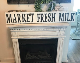 Large market fresh milk sign /  farmhouse sign / black and white / distressed / country sign / hand painted / wall sign / wall decor