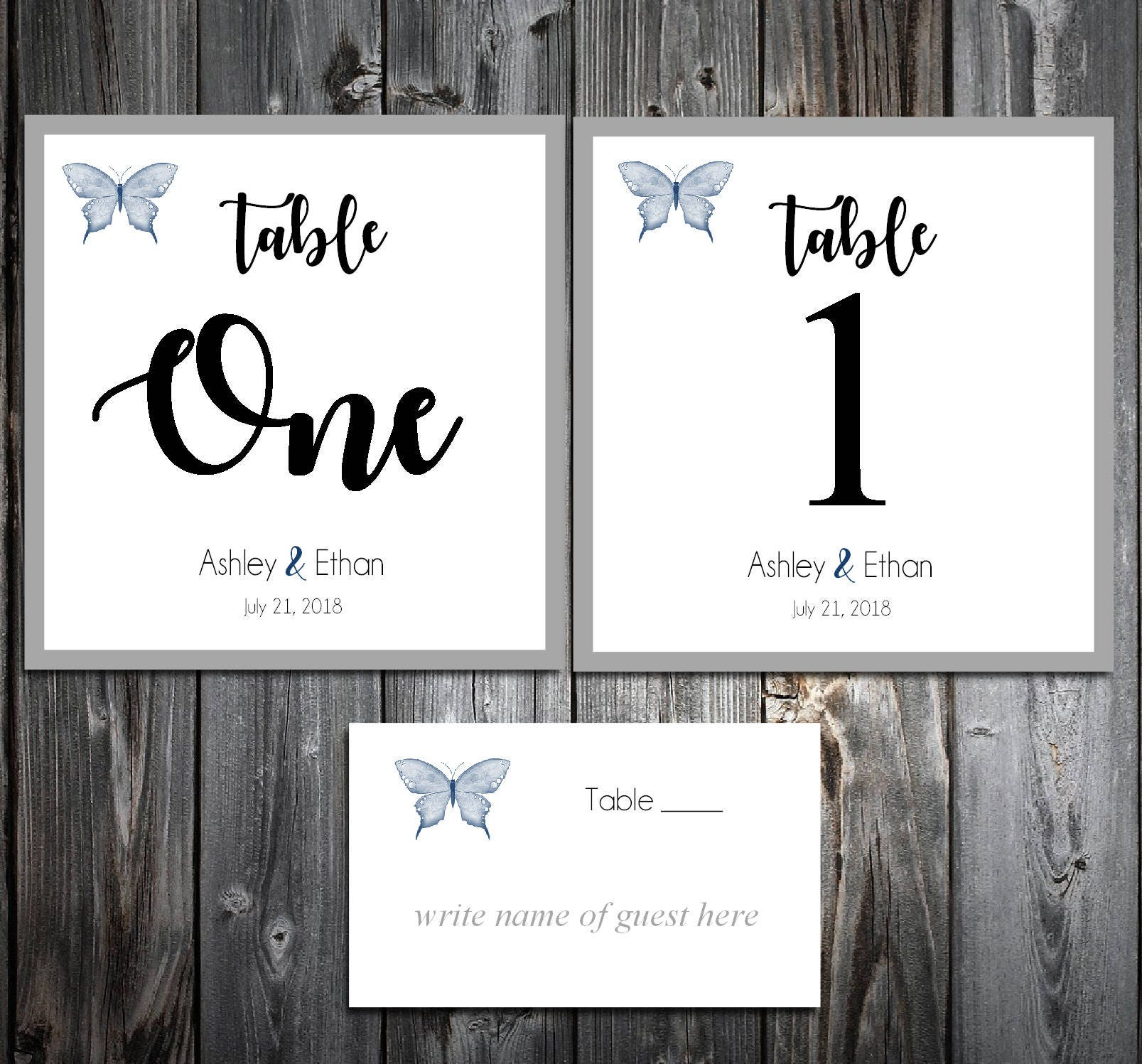 20 Butterfly Table Numbers and 200 place settings