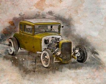 The Golden HotRod,  Automotive Art, Automotive Photography, Classic Car, Hot Rod, Boys Room Decor, Man Cave,  Large Wall Art Print