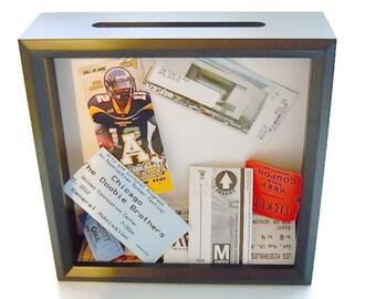 Ticket Holder - Black Shadow Box Ticket Keeper - Ticket Shadow Box - Graduation Gift - Ticket Stub Box -  Slot Top Ticket Box - Drop In Top