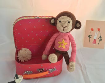 Crochet little monkey with guys-or girls clothes
