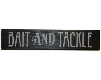Bait and Tackle Wood Shelf Sitter Sign Block