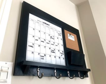 Modern Style Home Decor Wall Mail Organizer Storage White Dry Erase Calendar Board Office Decor  Storage Key Hook Message Center Shelf