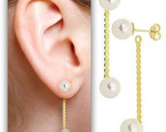 Gold Drop with Pearl Ending Earring