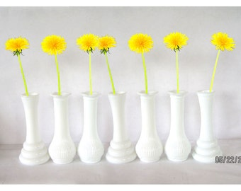 MILK Glass Bud VASES lot of 7 vintage white glass home decor contemporary mid century modern cottage country shabby chic retro wedding
