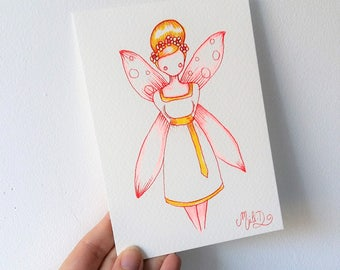 Drawing art, fairy-tale, postcard, reflect, girls gifts, birthday girl, fairy party, kids decor, fairy,