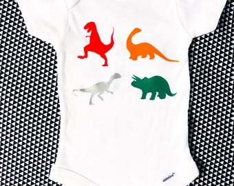 Dinosaurs Vinyl Heat Pressed Onesie® Gerber & T-shirt, cute, funny, graphic, baby, infant, kid, toddler, mom, dad, nerdy, educational, fun