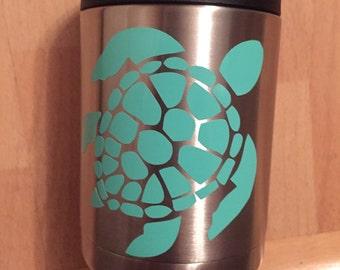 Sea Turtle Decal/ Sea Turtle Sticker/ Turtle Decal/ Yeti Decal/ Turtle Vinyl Decal/ Tumbler Decal/ Car Decal/ Nautical Decal