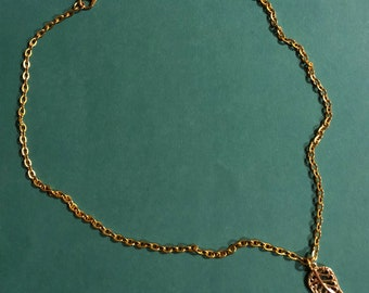 Gold Chain Necklace with Gold Leaf Charm