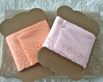 Apricot or Pink Eyelet Lace Trim