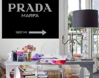 Prada Marfa logo art print Prada poster Prada warecolor Prada home decor Prada wall decor Prada painting