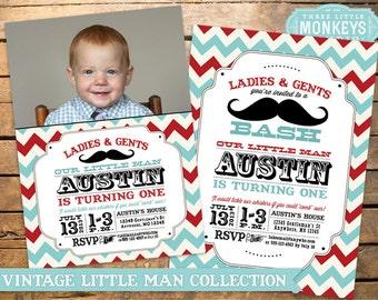 Little Man Birthday Party, Little Man Invitation, Mustache Party, Little Man Birthday Invitation