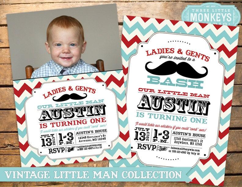Little Man Birthday Party Little Man Invitation Mustache