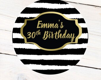 Birthday Stripes Personalized Label - Custom 30th Birthday Labels - 40th Birthday Favor Labels