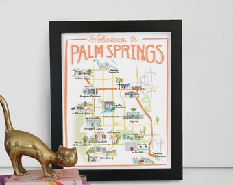 Palm Springs, California Illustrated Travel Map - print of an original watercolor