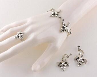 "Set-Sterling Silver Iguala EML Grapes Cluster Parure Bracelet, Earrings And Ring Set From 1930's- Smaller Bracelet 6 1/2"""