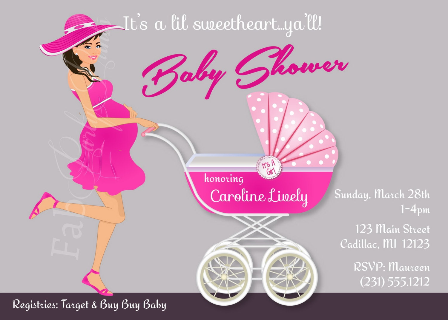 Personalized Baby Shower Invitation Southern Belle Baby