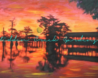 Sunset on the Bayou Print or Mixed Media Painting | Custom Paintings Christmas Gifts Oil painting Print | Mississippi Louisiana Swamp Gift