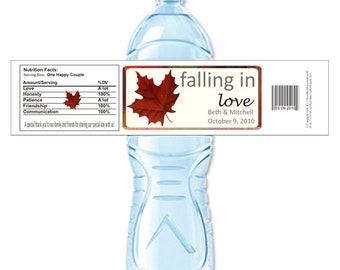 Falling in Love, Custom Water Bottle, Personalized Labels, Fall Wedding, Fall Labels, Fall Stickers, Labels, Stickers (Set of 24)(Y373)
