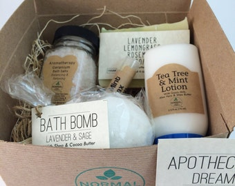 Apothecary Dream Gift Box of natural handmade soap, lotion, bath fizzie and bath salts