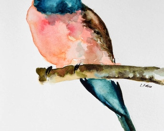 ORIGINAL Watercolor bird painting, Colorful Bee-eater Watercolor Illustration 6x8 inch
