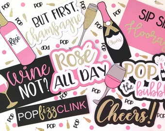 Champagne and Wine Photo Booth Props | Rosé All Day Photo Booth Props | Pop Fizz Clink Photo Booth Props | Rosé All Day Party | Bubbly Bar