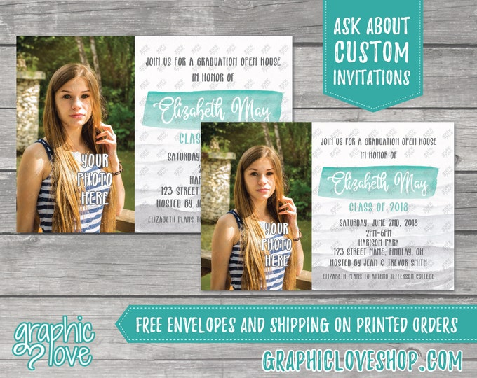 Featured listing image: Personalized Teal Watercolor Photo Graduation Invitation/Announcement | 4x6 or 5x7, Digital File or Printed, FREE US Shipping & Envelopes